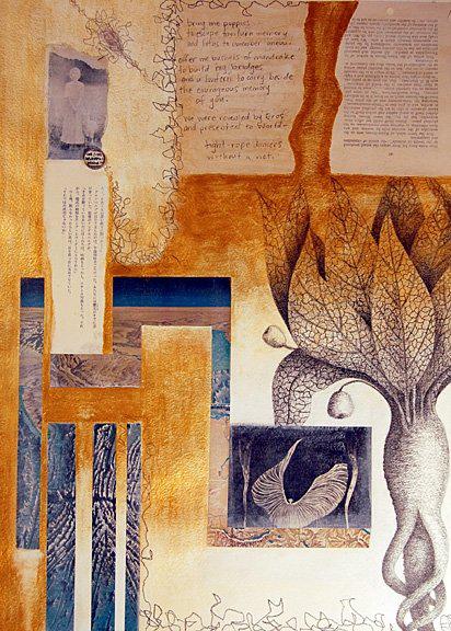 Molly Johnstone, mixed media collage, Mandrake (c)