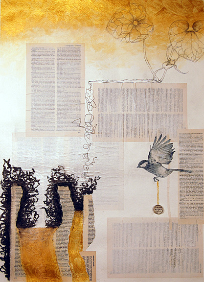 Copyright (c) 2015 Molly Johnstone, mixed media collage, Messenger Bird