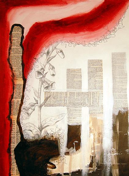 Copyright (c) 2015 Molly Johnstone, mixed media collage, Foxglove